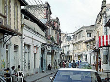 a narrow street in Mombasa's Old Town