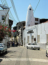 An old mosque and narrow street of Mombasa's old town